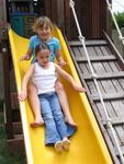 Double trouble on the slide.