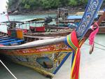 Colorful longtail boats.