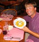 Chris presents his masterpiece: Saffron-laced Risotto with shrimp.