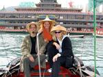 "Cherie, Margaret and Scott on our sampan ride in Aberdeen.  Behind us is the famous floating restaurant ""Jumbo."""