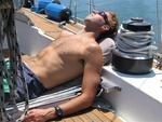 Gabi takes a rest, sailing is hard work!