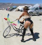 Karem ready to go for a bike ride through the Black Rock Desert.