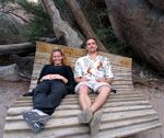 Eric and Cherie relax on a funky bench.