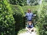Diane and Hilda lost in a hedge maze.