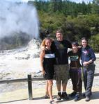 Cherie, Colin, Crystal and Sarah at Wai-O-Tapu's famous geyser.