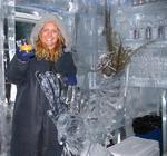 "Cherie at ""Minus 5"", a bar where everything is made of ice...even the ""glasses"" you drink from!"