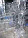 The bar is surrounded by ice-sculptures.