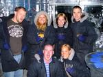 The gang in our parkas. (It's colder in the bar than outside!)