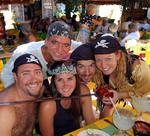 "Pirates (Dustin, Billy, Laura, Greg and Cherie) gather to raise money for local Banderas Bay charities in the annual ""Pirates for Pupils."" *Photo by Richard/Lat 38"
