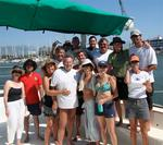 "The champion crew of ""Profligate"" the surfing 63-ft cat skippered by Richard Spindler."