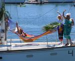 Integrity's crew can trim the spinnaker from their hammock.