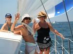 The ladies on the foredeck. *Photo by Karen Vaccaro S/V Miela.