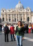 Cherie in front of St. Peter's Basilica, Rome, Italy.