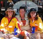 "The ladies take a much needed ""beer break"" as the men pedal on."