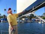 Don Benedict monitors the sail's shape. *Photo by Cherie Sogsti