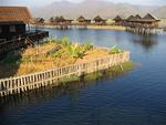 Water-front cottages on Inle Lake.