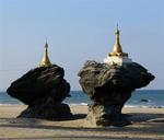 Pagoda by the shore.