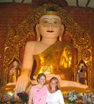 Cherie and Jean in front of the Shwemyetman Paya.  It's the only Paya in the world where the Buddha wears a pair of gold glasses.