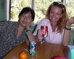 Look at the writing on the cans of soda that Cherie and Lynda are drinking. *Photo by Jean Leitner.