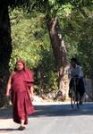 A monk walks down the road to Mt. Popa.