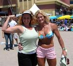 Cherie with Strongwoman announcer Shannon Harnett, 10-time Highland Games World Champion and member of the US Bobsled team.  But really, who is in better shape?