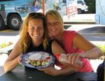 Cherie and Marjo eating pancakes (what else would you eat!)before they hike the pancake rocks.