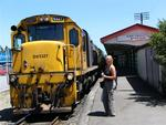 Marjo at the Greymouth Train Station.