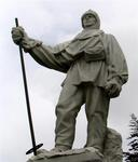 "This statue of Captain Robert Falcon Scott looks cold.  Scott wrote: ""Do not regret this journey, which shows Englishmen can endure hardships, help one another and meet death with as great fortitude as ever in the past."""