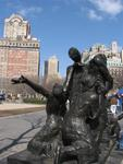A sculpture reaches for the sky in Battery Park.