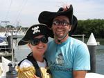 Camelia and Dustin raise our pirate flag.