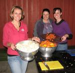 Treena, Alicia and Julie help prepare tonight's feast!