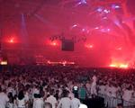 A red glow at Sensation White 2007.