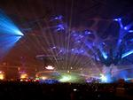 Lazers illuminate the Amsterdam Arena.