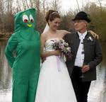 "Would you invite Gumby to your wedding?  At Anita & Ken's ""Anything Goes"" wedding, guests were encouraged to wear costumes."