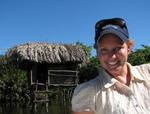"Cherie, exploring the ""jungle huts"" of San Blas, Mexico."