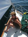 Anne on foredeck.