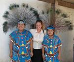 Cherie with two local girls from Jarretaderas, dressed in their traditional costumes.