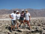 Greg, Cherie, Karem and Dean on the salt-caked earth in Death Valley.