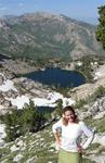 "Cherie at Overland Lake, ""about"" the halfway point on the Ruby Crest Trail, a 43-mile trail linking Lamoille Canyon to Harrison Pass in the Ruby Mountains."