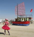 "Cherie at Burning Man 2008 ""The Green Man"".  Who else is ready for a sail through the Black Rock Desert in Nevada?"