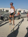 Karem walks on stilts!