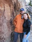 Cherie and Greg by the local petroglyphs.