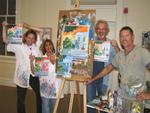 Cherie, Diane and Theo with local Key West artist Rick Worth after taking TSKW's class: Painting Boot Camp.