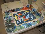 "Cherie's ""almost finished"" Koi fish painting...which will soon decorate the walls of her RV."