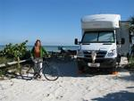 Cherie with her bike and RV at Long Key State Park in the Florida Keys.