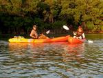 Cherie and Greg on the Paddle, Pirates and Poltergeists Tour, a spooky kayak tour through the mangroves of Key West.