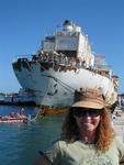 Cherie watches as The Gen. Hoyt S. Vandenburg arrives in Key Went. At 522-ft, The Vandenberg will be the world's second largest artificial reef when she is sunk next month (May 2009) a few miles from Key West.