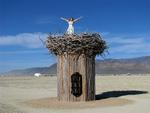 Cherie ready to soar from a nest at Burning Man 2009.