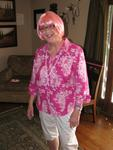 Mom with her beautiful pink wig.