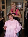 Linda gets a pink stripe from Michelle.
